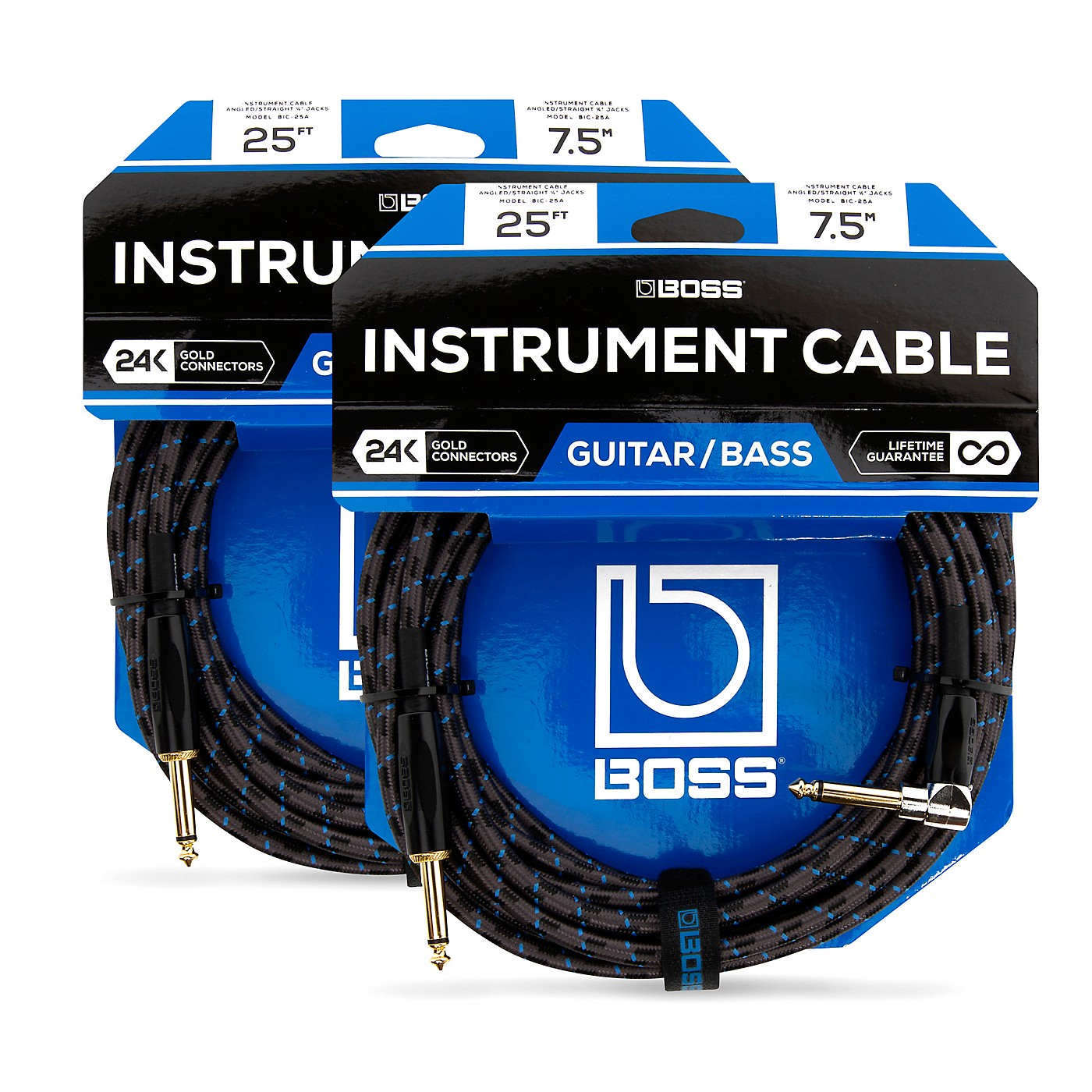 BOSS BIC-25A Angled To Straight Instrument Cable, 25 Ft. 2-Pack thumbnail