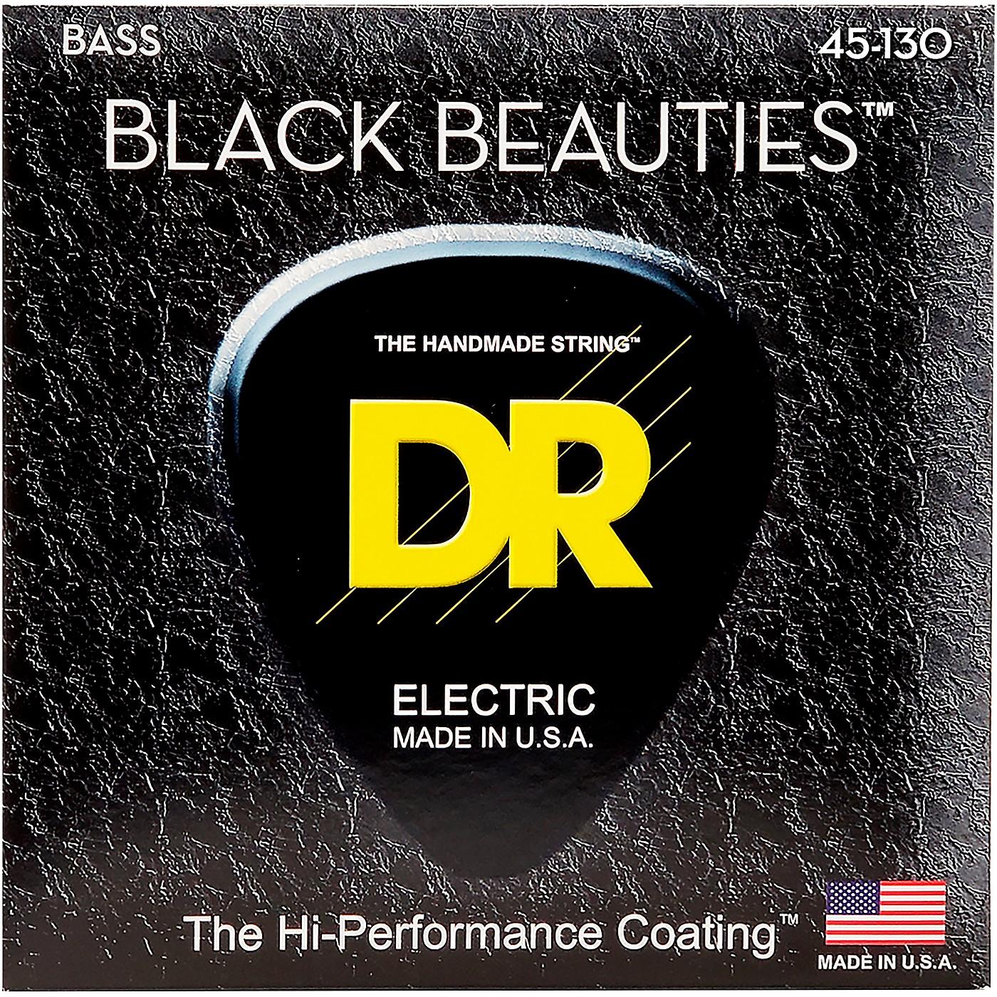 DR Strings BLACK BEAUTIES  Black Coated 5-String Bass Strings Medium (45-130) thumbnail
