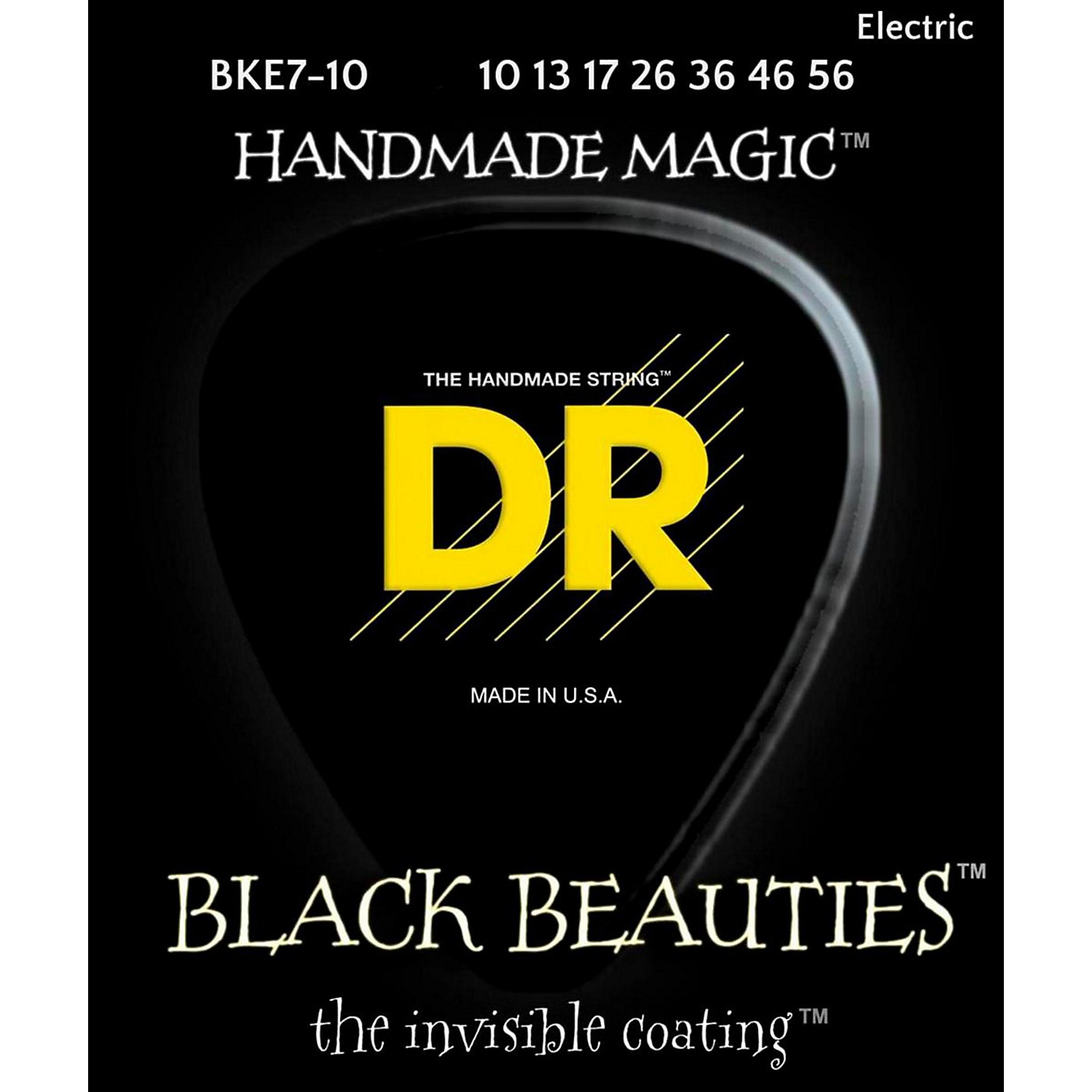 DR Strings BLACK BEAUTIES Black Coated Medium 7-String Electric Guitar Strings (10-56) thumbnail