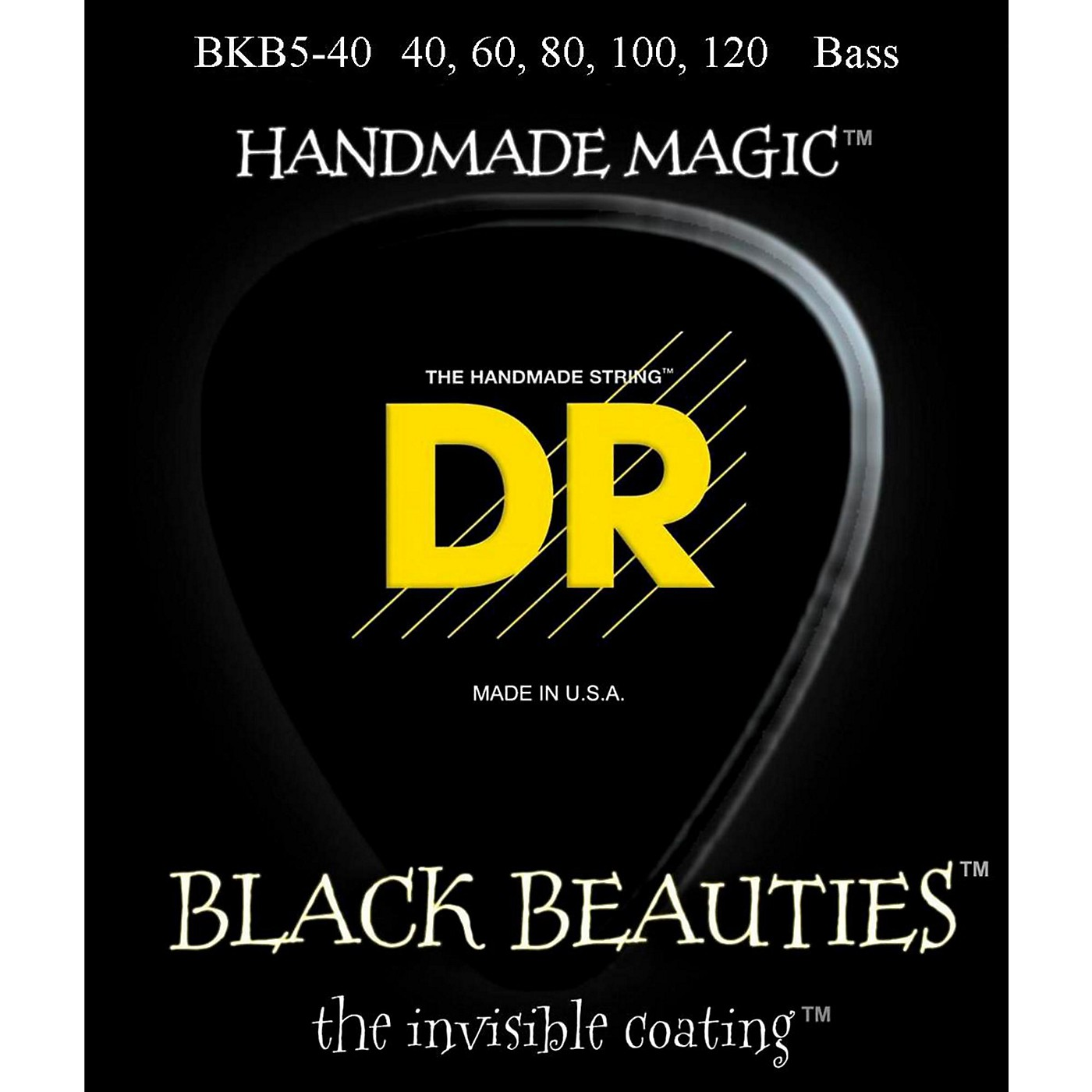 DR Strings BLACK BEAUTIES Coated 5-String Bass Light (40-120) thumbnail