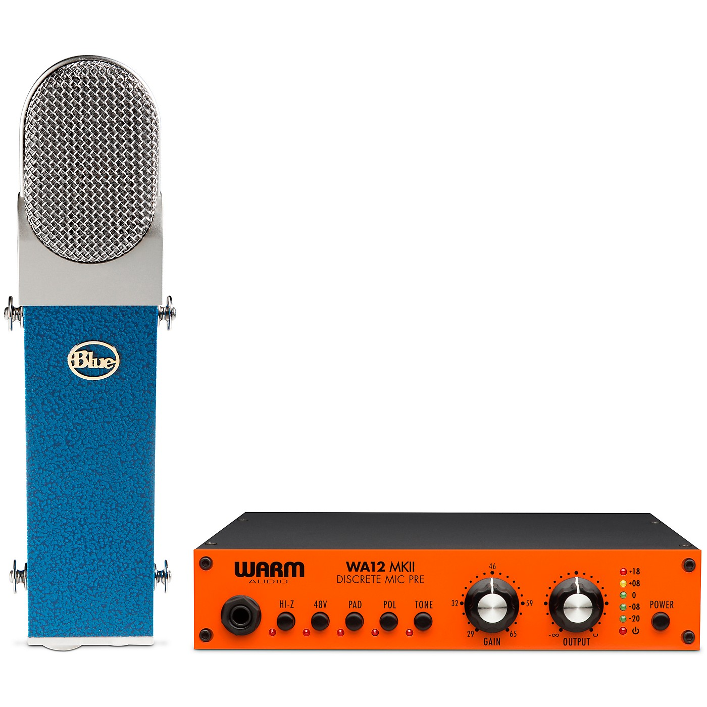 Warm Audio BLUE Blueberry Cardioid Condenser Microphone with Warm Audio WA12 MkII Microphone Preamp thumbnail