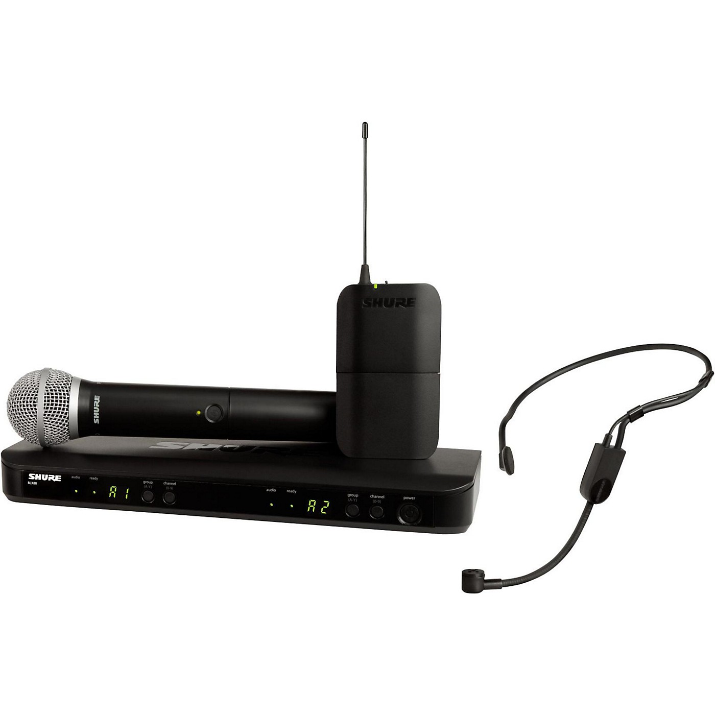 Shure BLX1288 Combo System with PGA31 Headset microphone and PG58 handheld microphone thumbnail