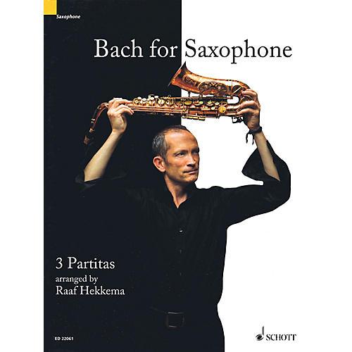 Schott Bach for Saxophone: 3 Partitas - BWV 1002, BWV 1004, BWV 1006 Woodwind Solo Series Book thumbnail