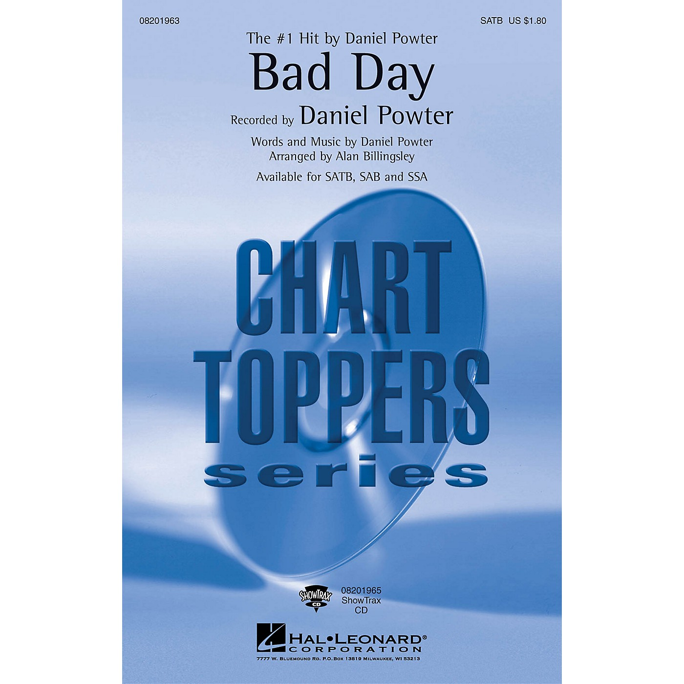 Hal Leonard Bad Day SATB by Daniel Powter arranged by Alan Billingsley thumbnail