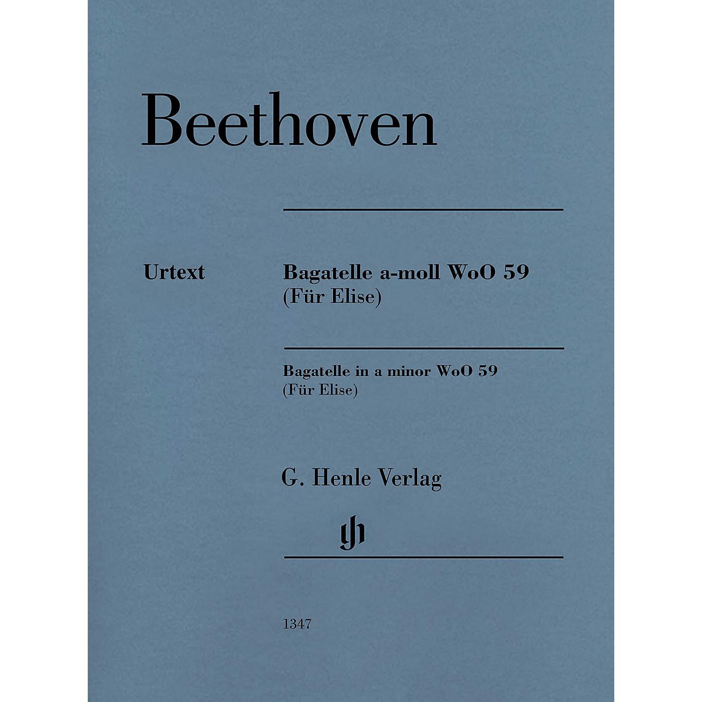 G. Henle Verlag Bagatelle in A minor WoO 59 (Für Elise) Henle Music Folios Series Softcover thumbnail