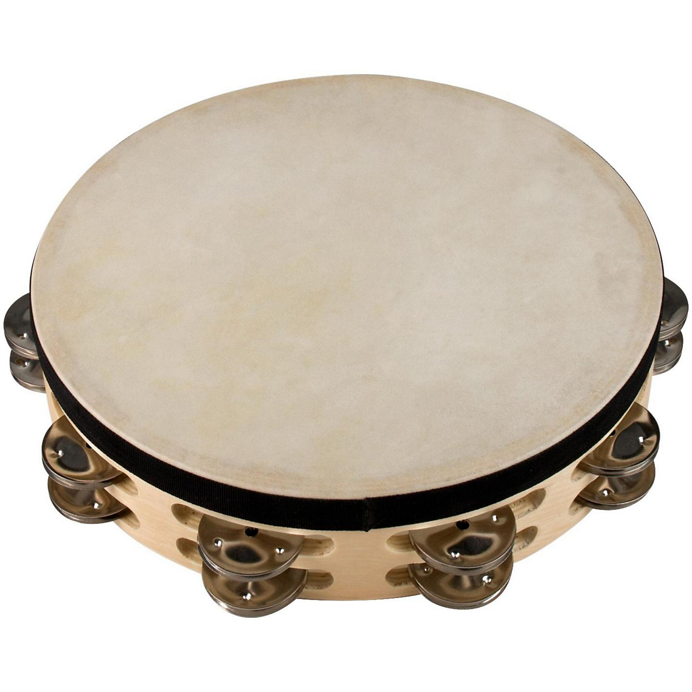 Sound Percussion Labs Baja Percussion Double Row Tambourine with Steel Jingles thumbnail