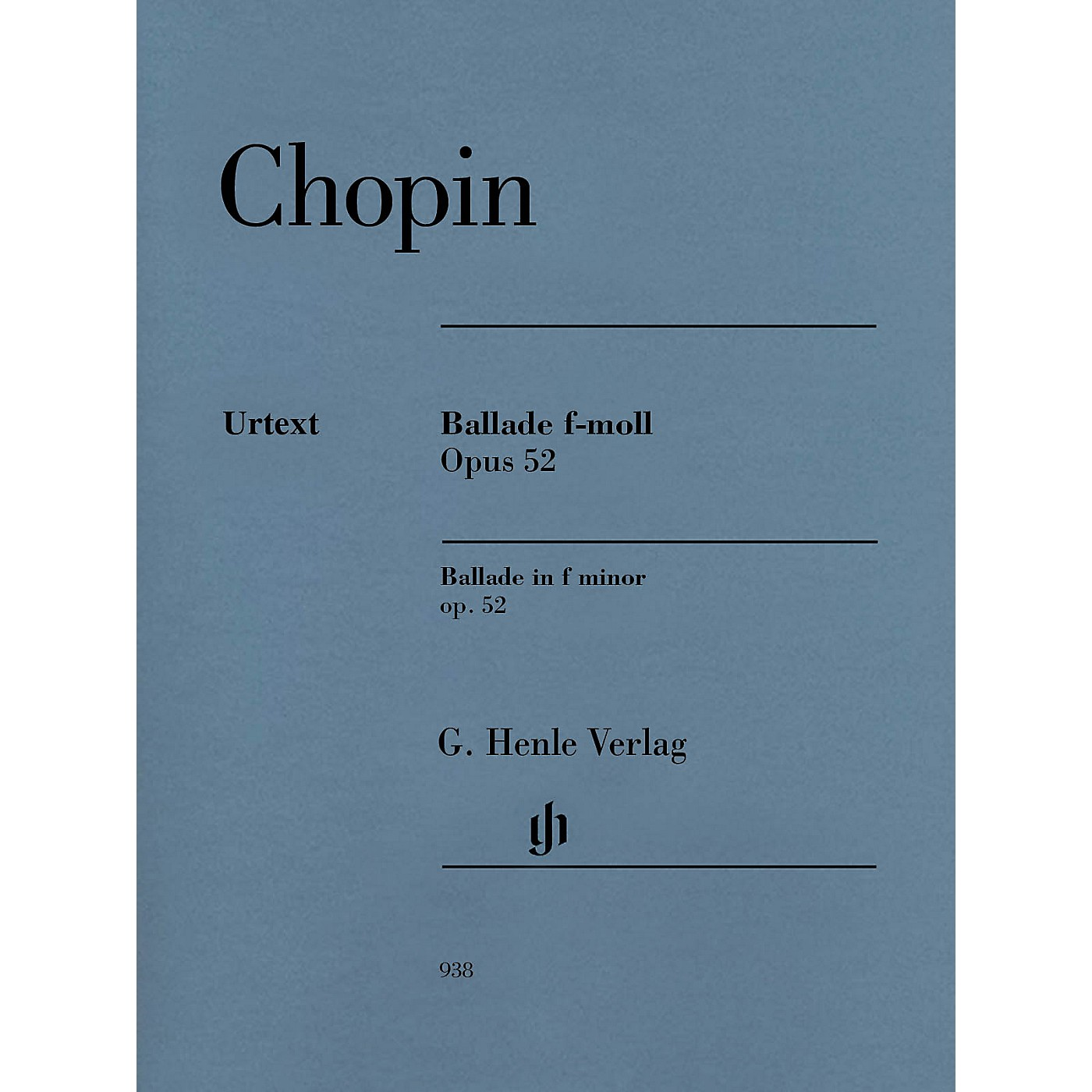 G. Henle Verlag Ballade in F minor Op. 52 Henle Music Softcover by Frederic Chopin Edited by Norbert Mullemann thumbnail