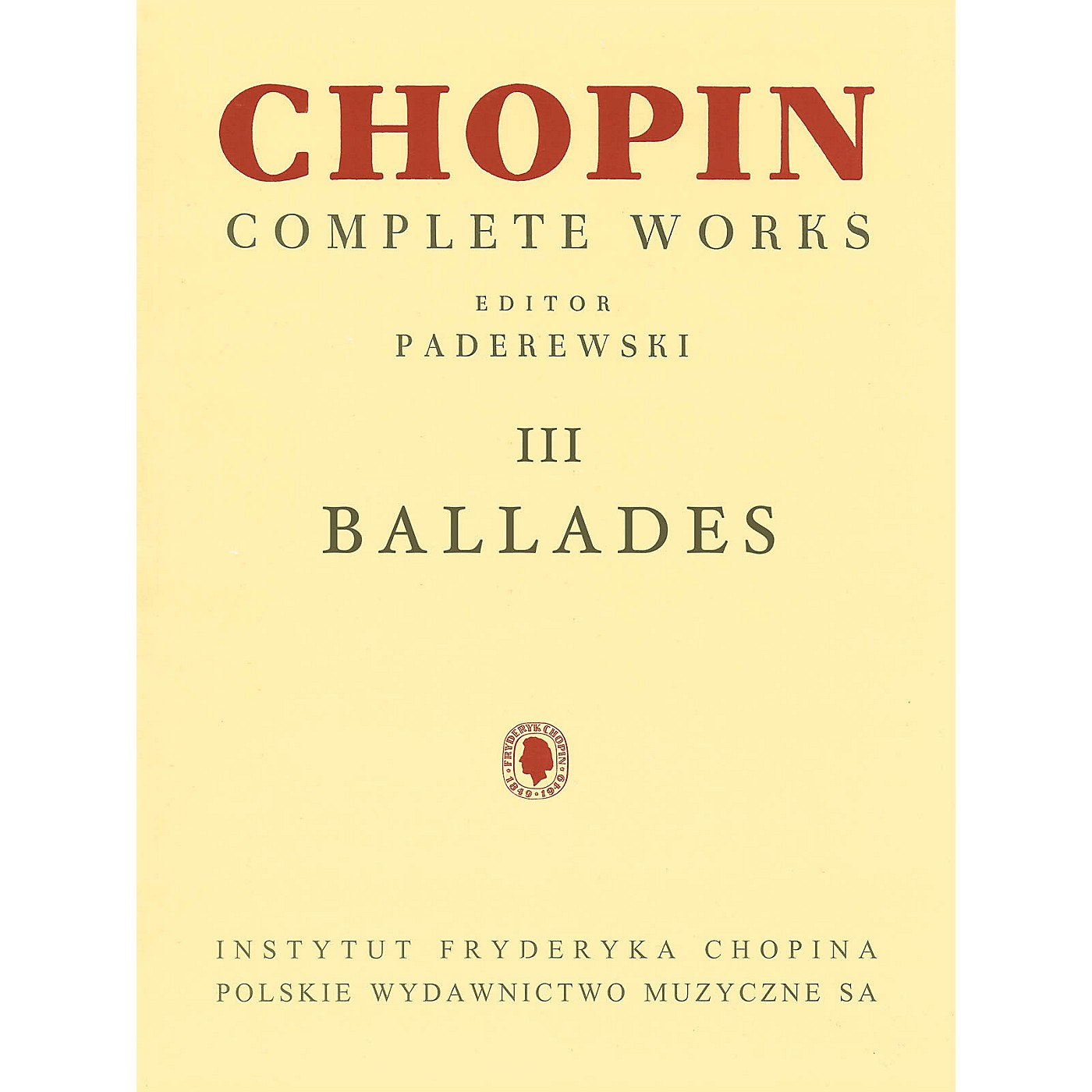 PWM Ballades (Chopin Complete Works Vol. III) PWM Series Softcover thumbnail