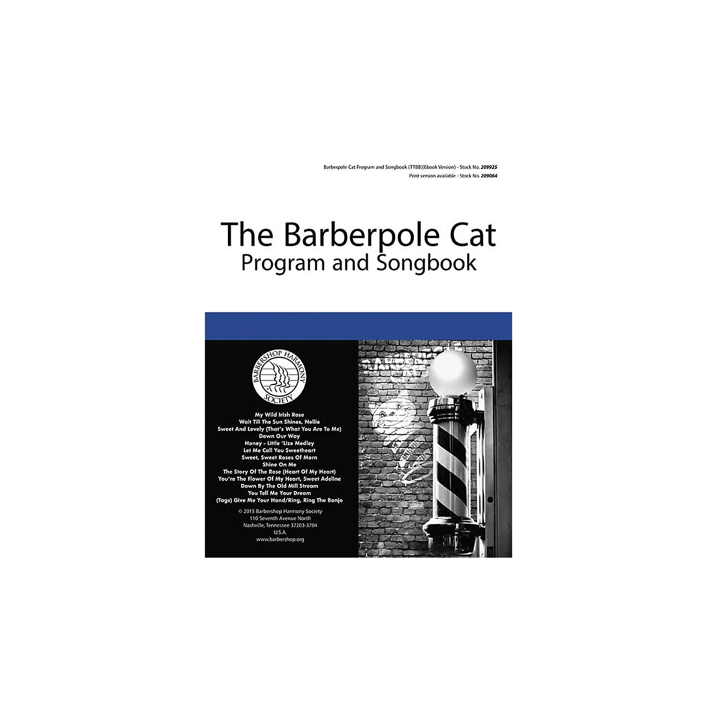 Barbershop Harmony Society Barberpole Cat Songbook TTBB A Cappella composed by Various thumbnail
