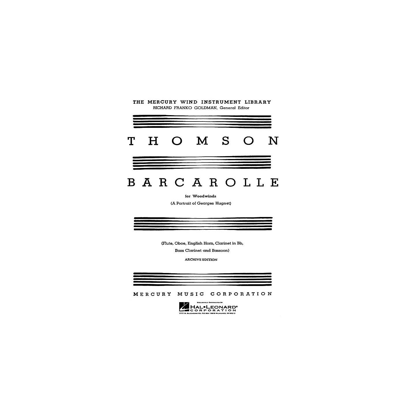 G. Schirmer Barcarolle (A Portrait of Georges Hugnet) (Score and Parts) Woodwind Ensemble Series by Virgil Thomson thumbnail
