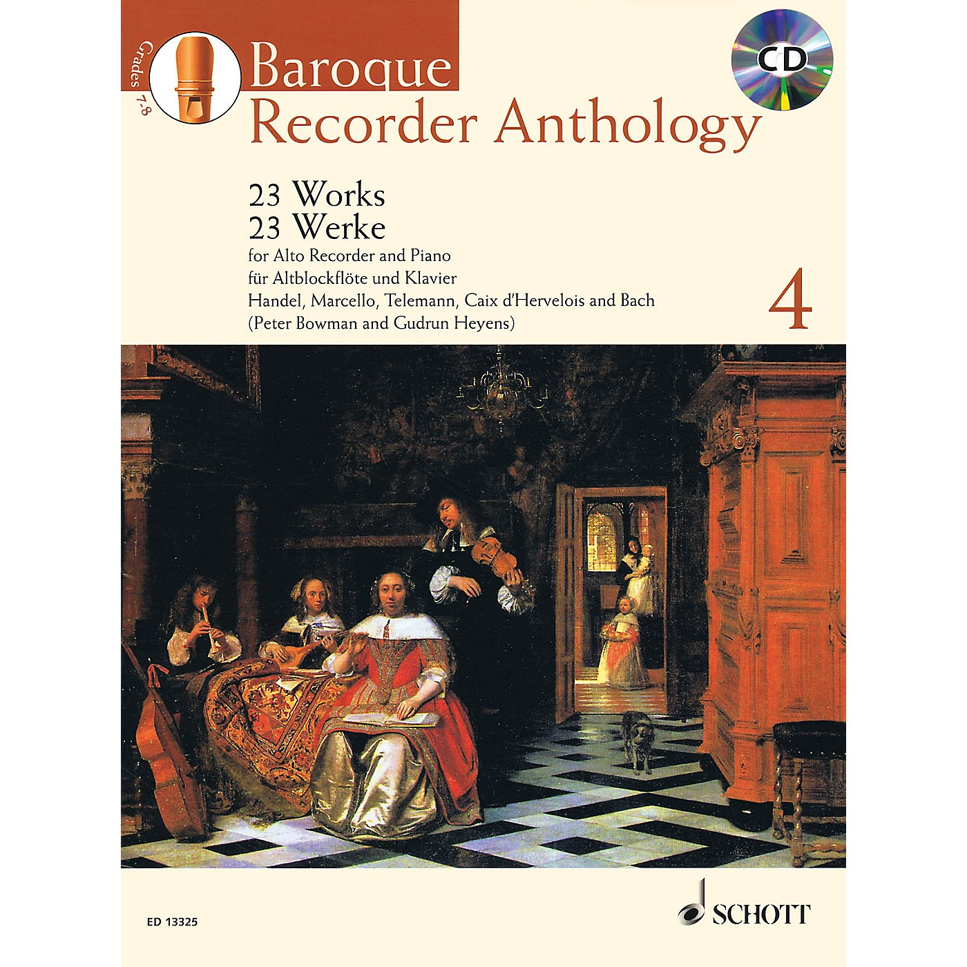 Schott Baroque Recorder Anthology, Vol. 4 Schott Softcover with CD  by Various Edited by Gudrun Heyens thumbnail
