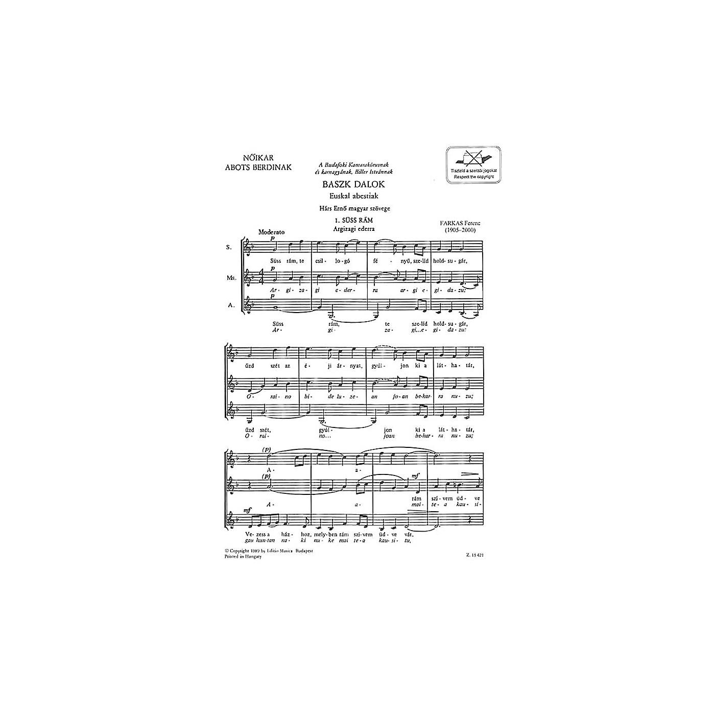 Editio Musica Budapest Baszk Dalok SSA Composed by Ferenc Farkas thumbnail