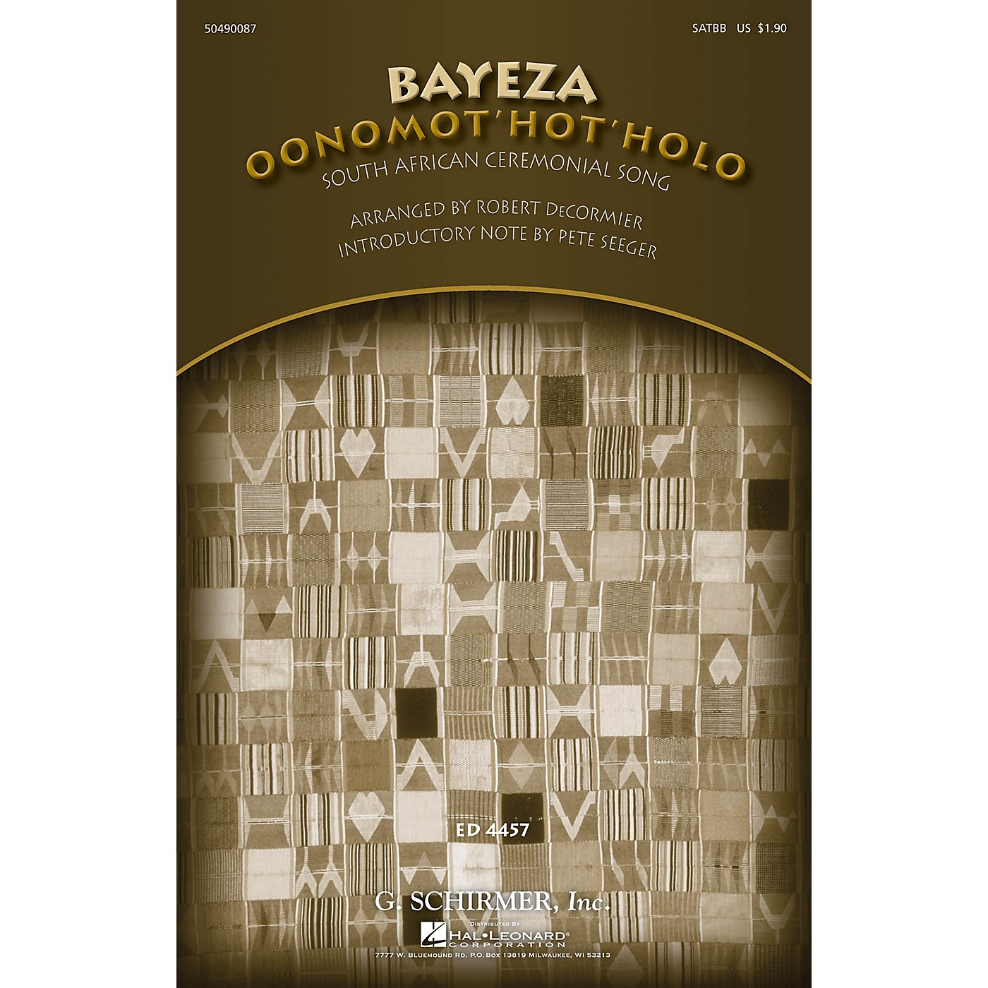 G. Schirmer Bayeza (Oonomot'hot'holo) (Ceremonial Song) SATBB arranged by Robert DeCormier thumbnail