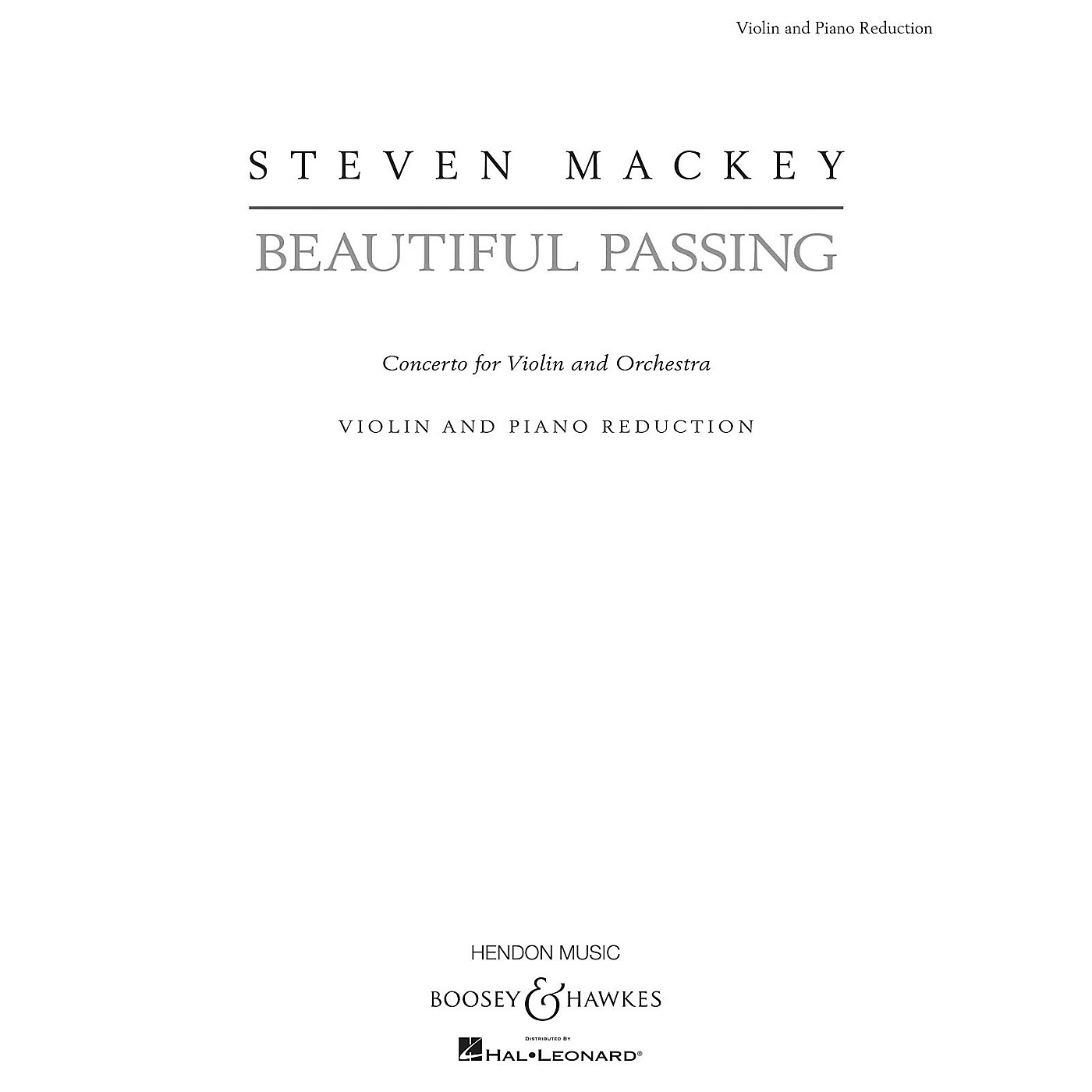 Boosey and Hawkes Beautiful Passing (Solo Violin with Piano Reduction) Boosey & Hawkes Chamber Music Series Softcover thumbnail