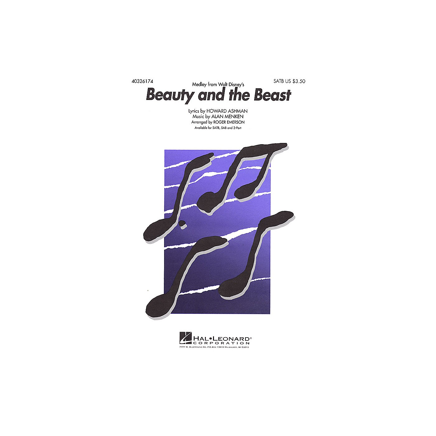 Hal Leonard Beauty and the Beast (Medley) SAB Arranged by Roger Emerson thumbnail