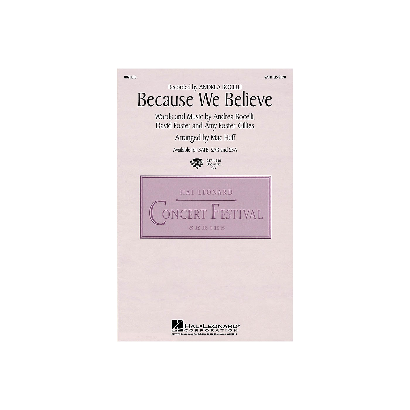 Hal Leonard Because We Believe SATB by Andrea Bocelli arranged by Mac Huff thumbnail