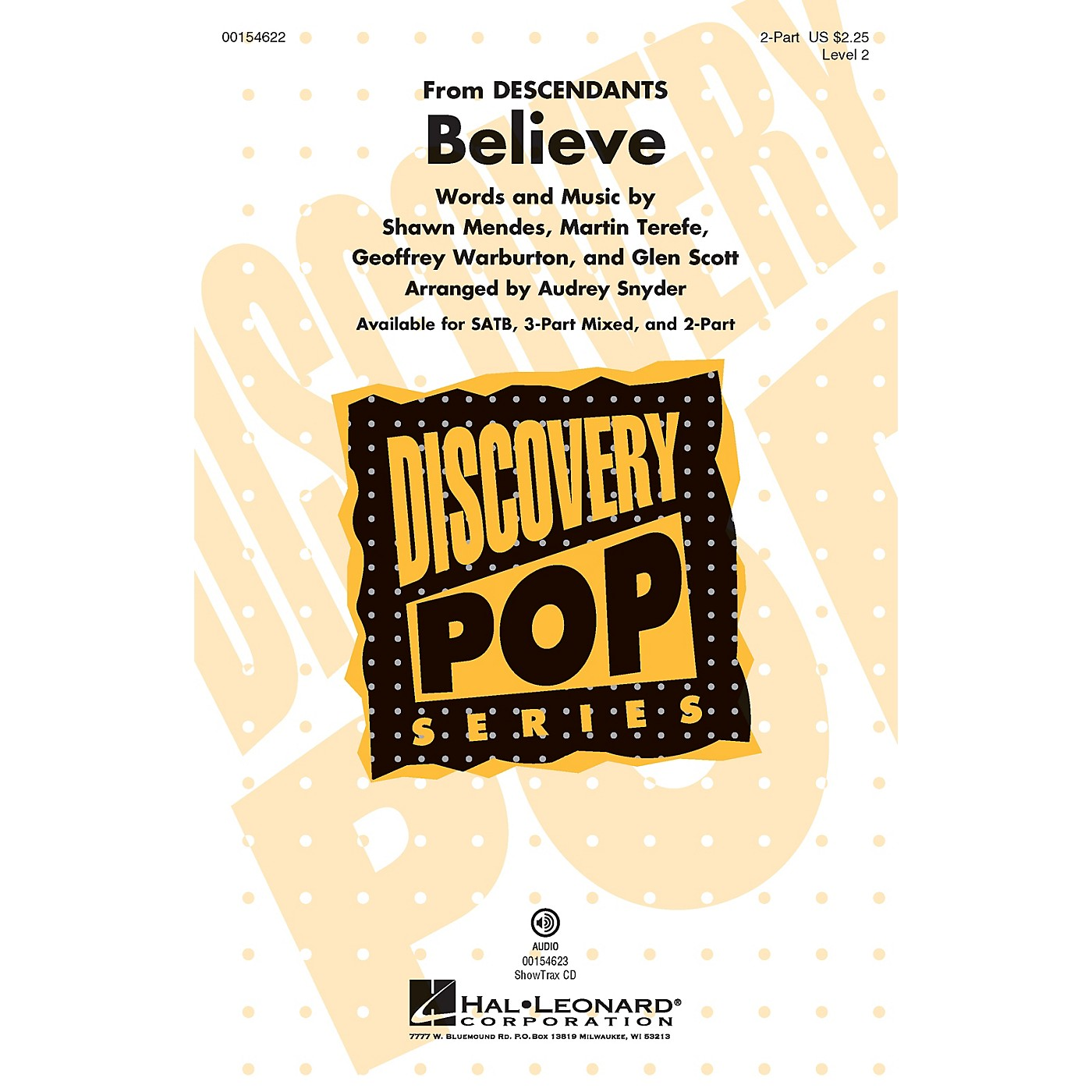 Hal Leonard Believe (Discovery Level 2) 2-Part arranged by Audrey Snyder thumbnail