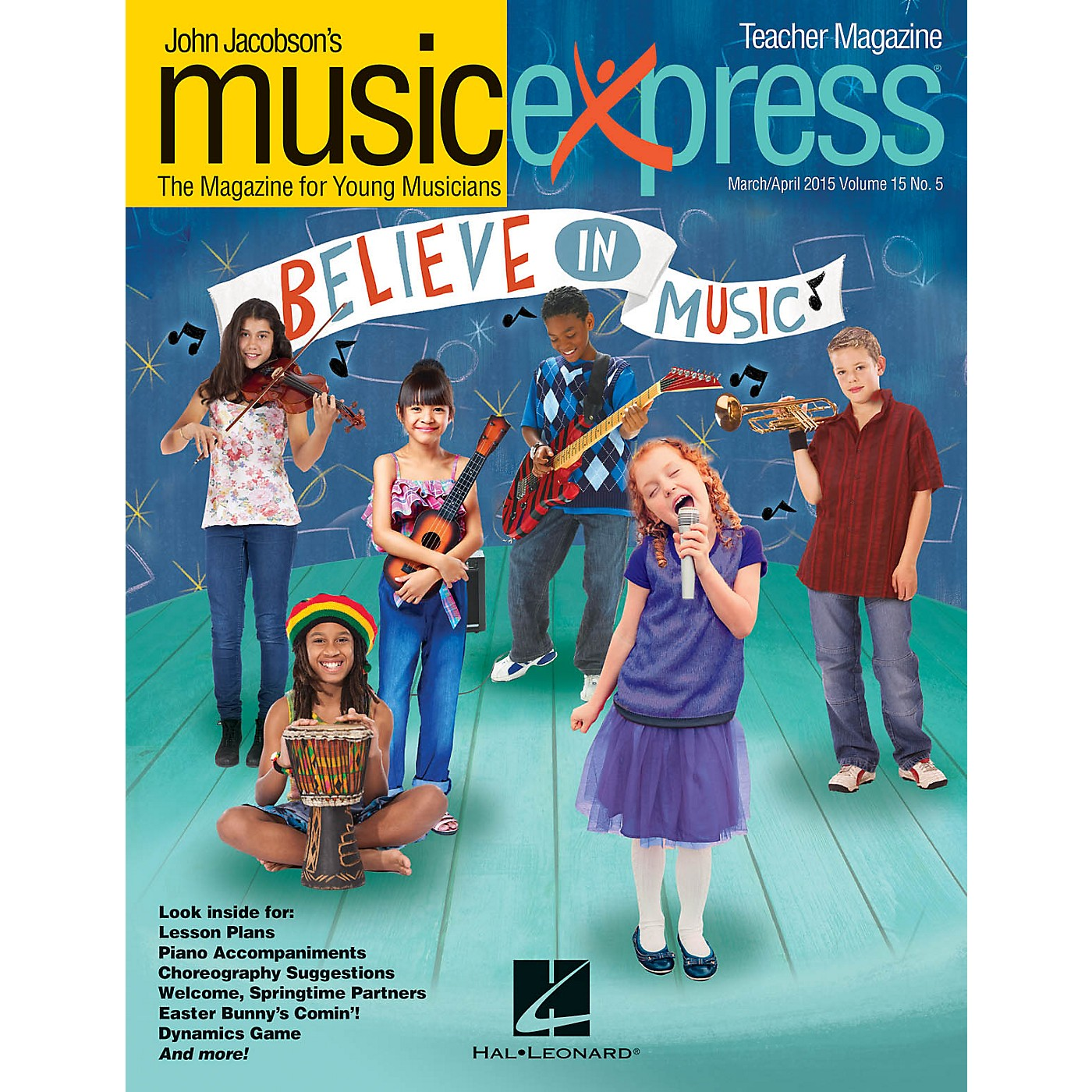 Hal Leonard Believe in Music Vol. 15 No. 5: March/April 2015 Teacher Magazine w/CD Arranged by Emily Crocker thumbnail