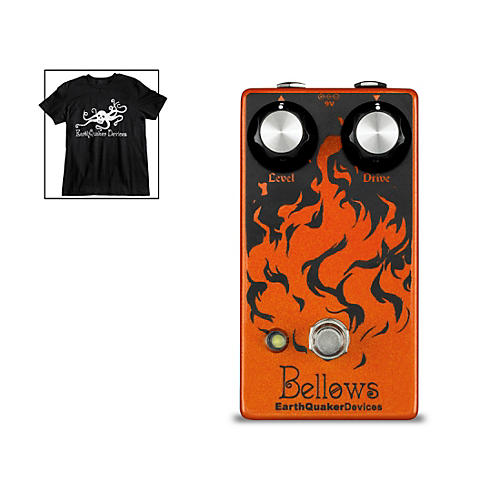 EarthQuaker Devices Bellows Fuzz Driver Guitar Effects Pedal and Octoskull T-Shirt Large Black thumbnail