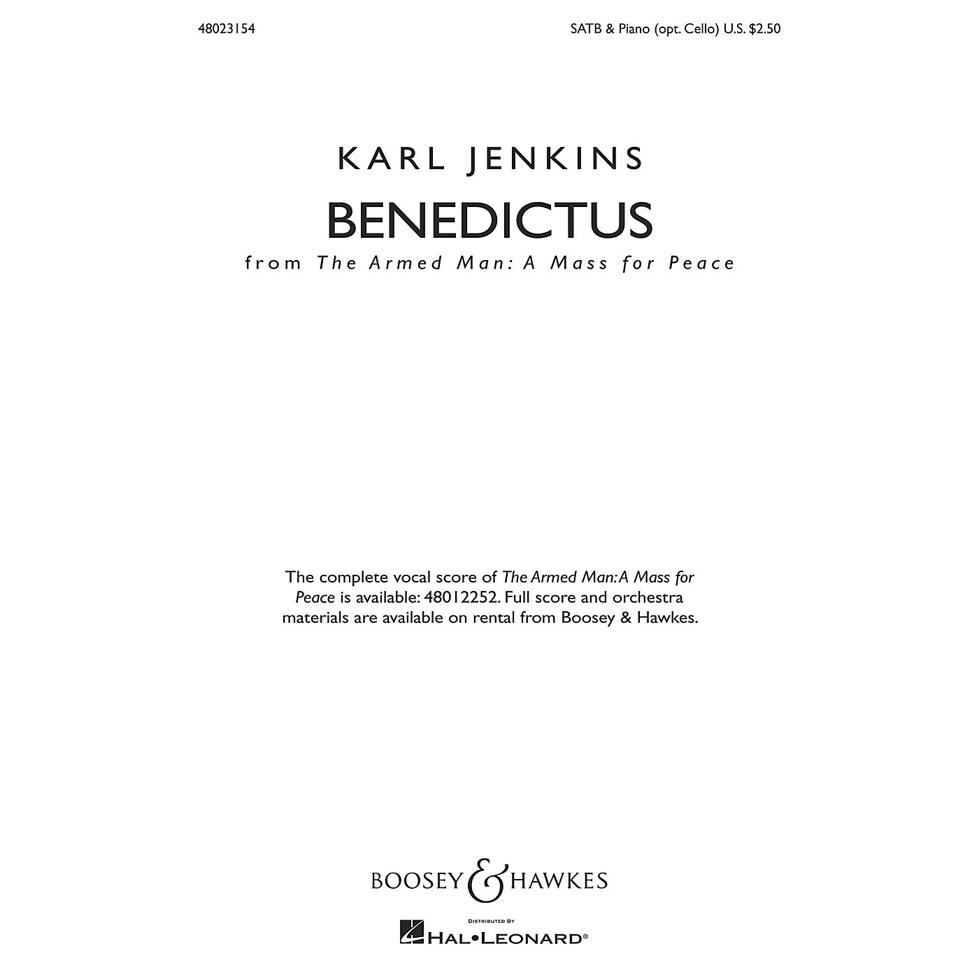 Boosey and Hawkes Benedictus from The Armed Man: A Mass for Peace (SATB & Piano (opt. Cello)) SATB composed by Karl Jenkins thumbnail