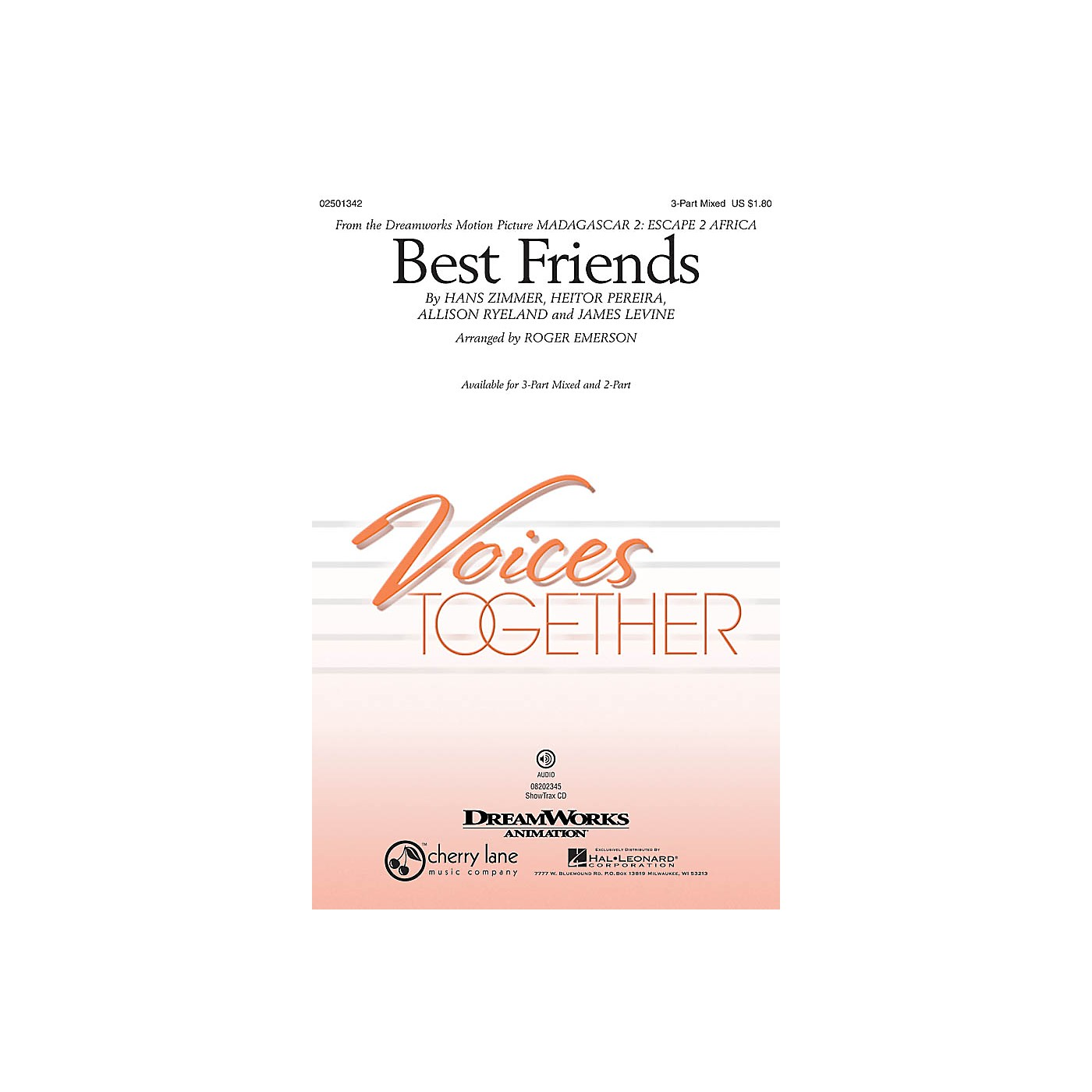 Hal Leonard Best Friends (from Madagascar 2: Escape 2 Africa) ShowTrax CD by will.i.am Arranged by Roger Emerson thumbnail