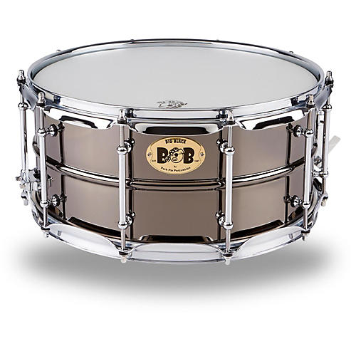 Pork Pie Big Black Brass Snare Drum with Tube Lugs and Chrome Hardware thumbnail