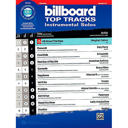 Alfred Billboard Top Tracks Instrumental Solos - Clarinet Book & CD Play-Along thumbnail