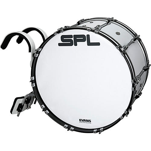 Sound Percussion Labs Birch Marching Bass Drum with Carrier - White thumbnail