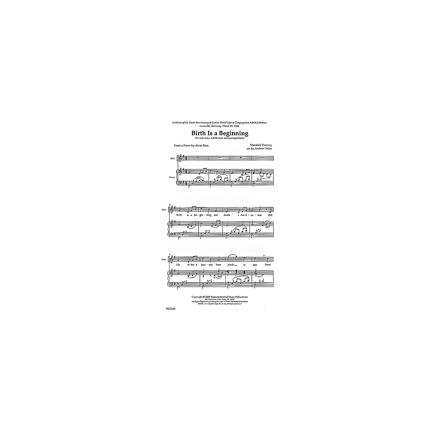 Transcontinental Music Birth Is a Beginning SATB composed by Marshall Portnoy thumbnail