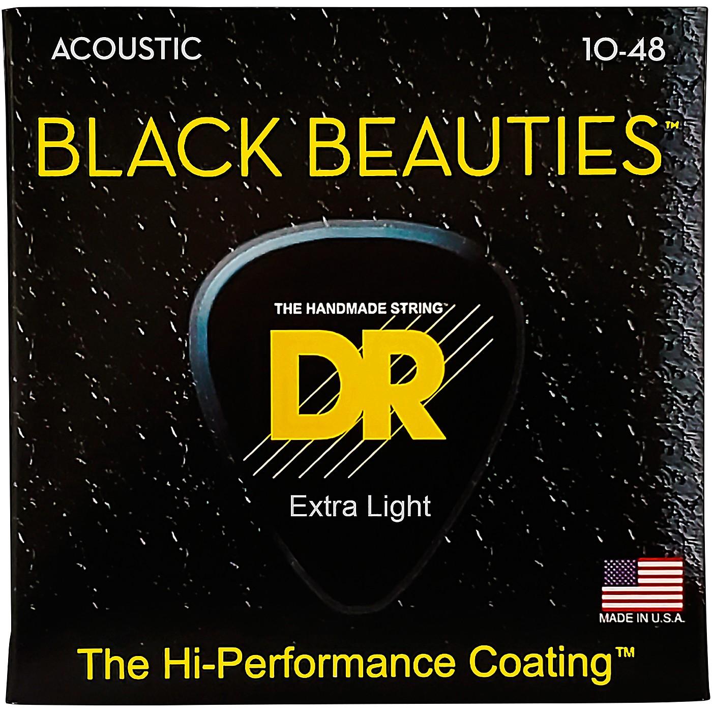 DR Strings Black Beauties Acoustic Guitar Strings Extra Lite thumbnail