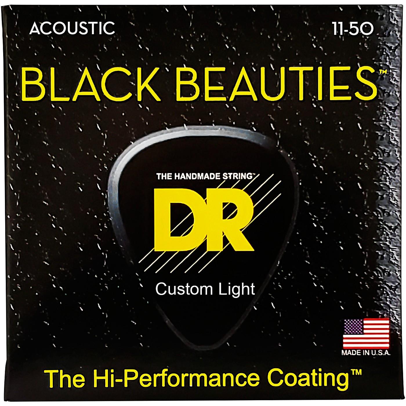 DR Strings Black Beauties Light Acoustic Guitar Strings thumbnail