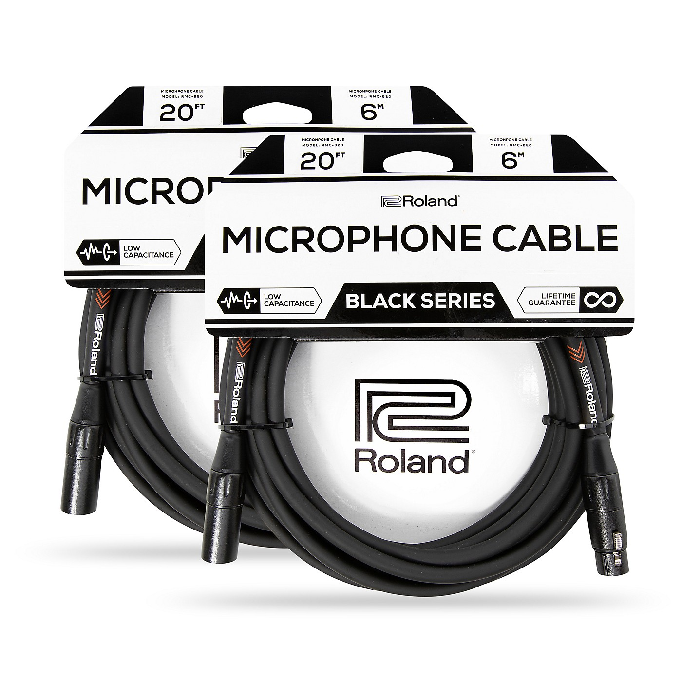 Roland Black Series XLR Microphone Cable 20 ft. Black 2-Pack thumbnail