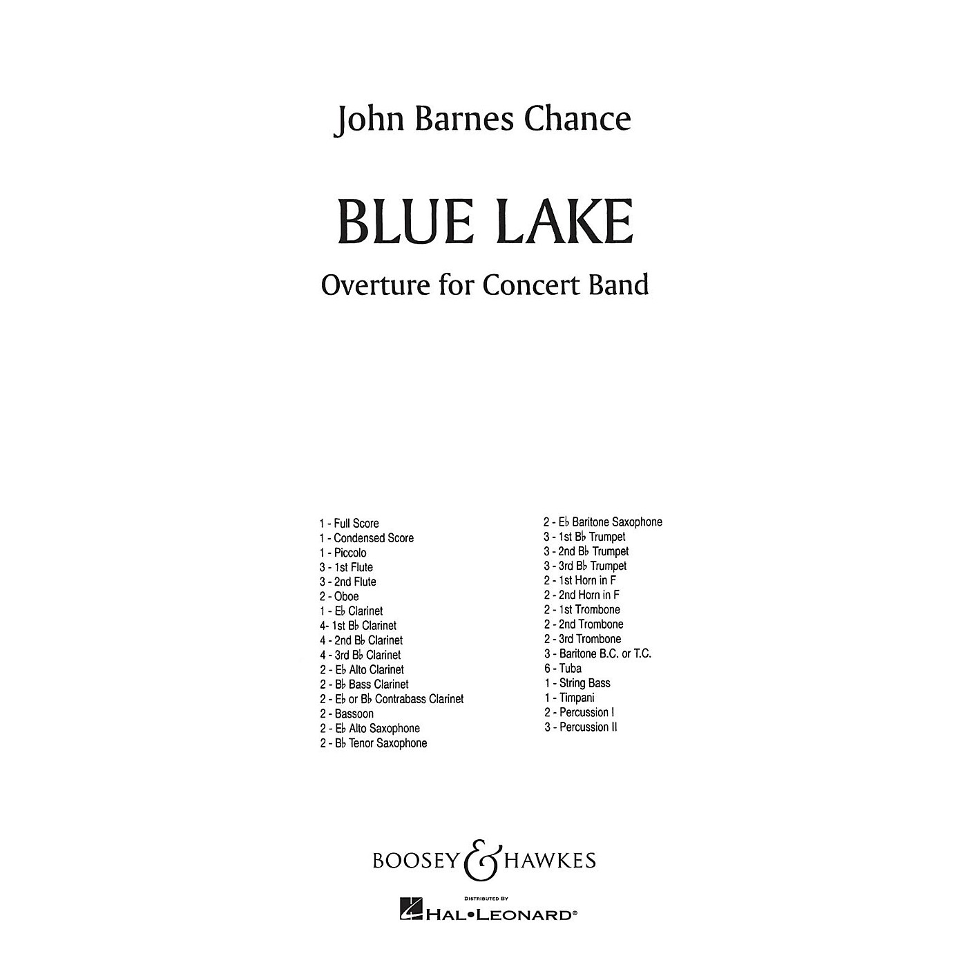 Boosey and Hawkes Blue Lake (Full Score) Concert Band Composed by John Barnes Chance thumbnail