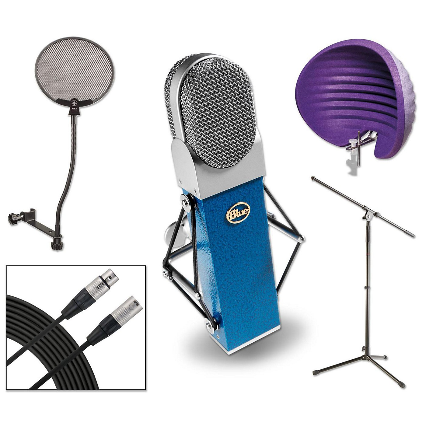 BLUE Blueberry HALO Vocal Shield Stand 2 Pack Pop Filter and Cable Kit thumbnail