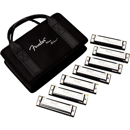 Fender Blues Deluxe Harmonica Set (7-Pack with Case, Keys of C, G, A, D, F, E and Bb) thumbnail