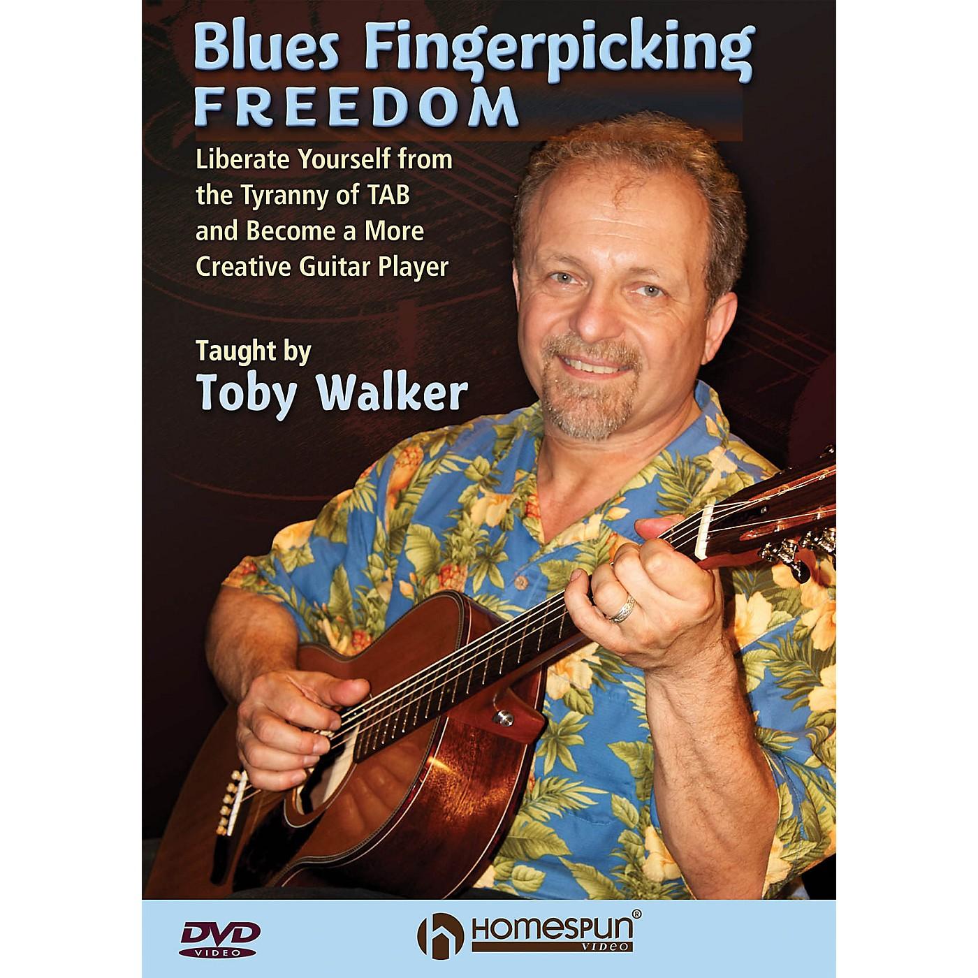 Homespun Blues Fingerpicking Freedom Homespun Tapes Series DVD Written by Toby Walker thumbnail