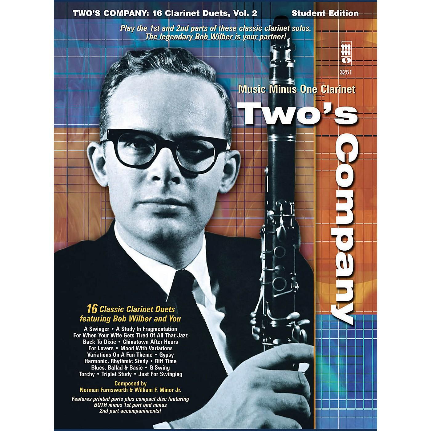 Music Minus One Bob Wilbur - Two's Company: 16 Clarinet Duets Music Minus One Series BK/CD by Bob Wilbur thumbnail
