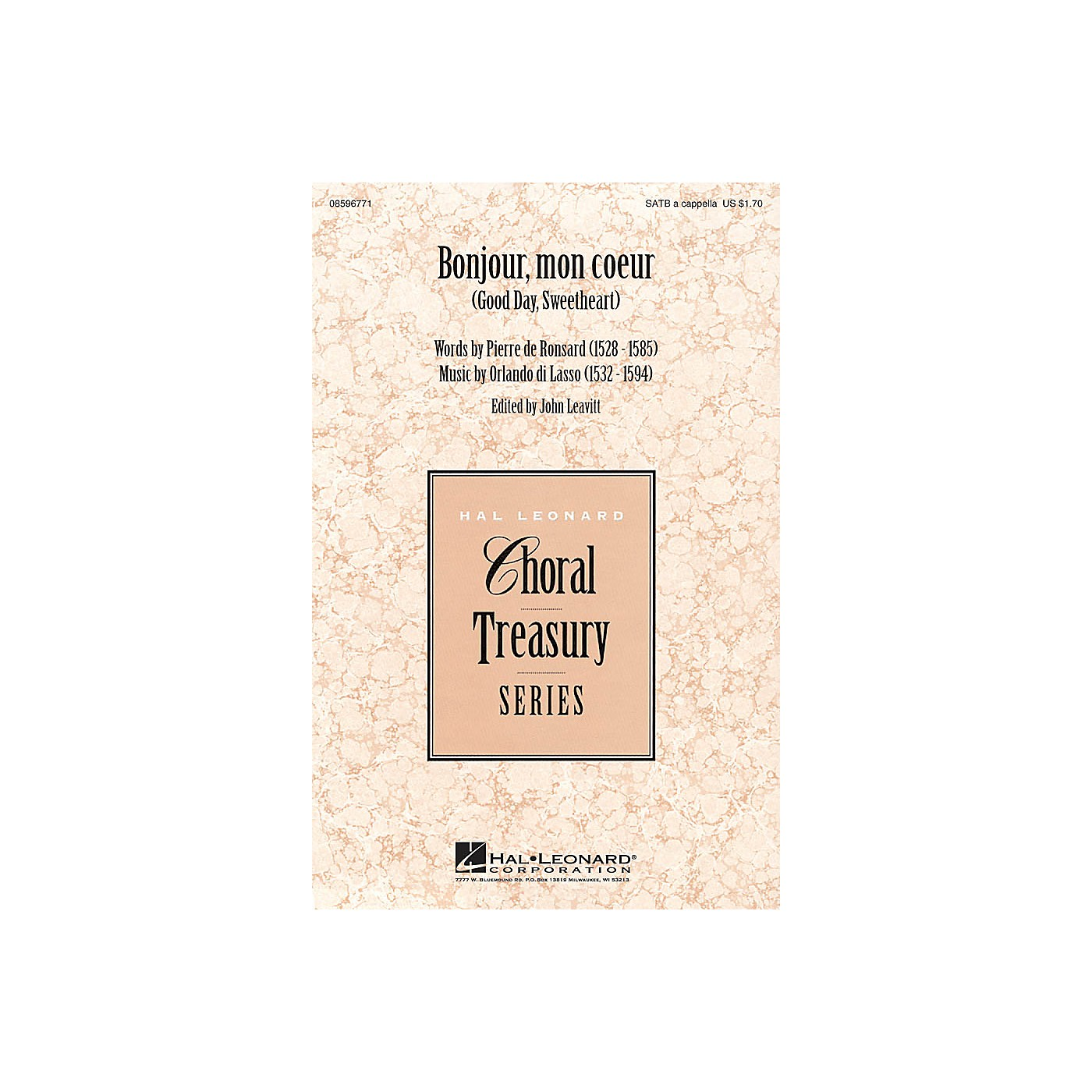 Hal Leonard Bonjour, mon coeur (Good Day, Sweetheart) SATB a cappella composed by Orlando di Lasso thumbnail
