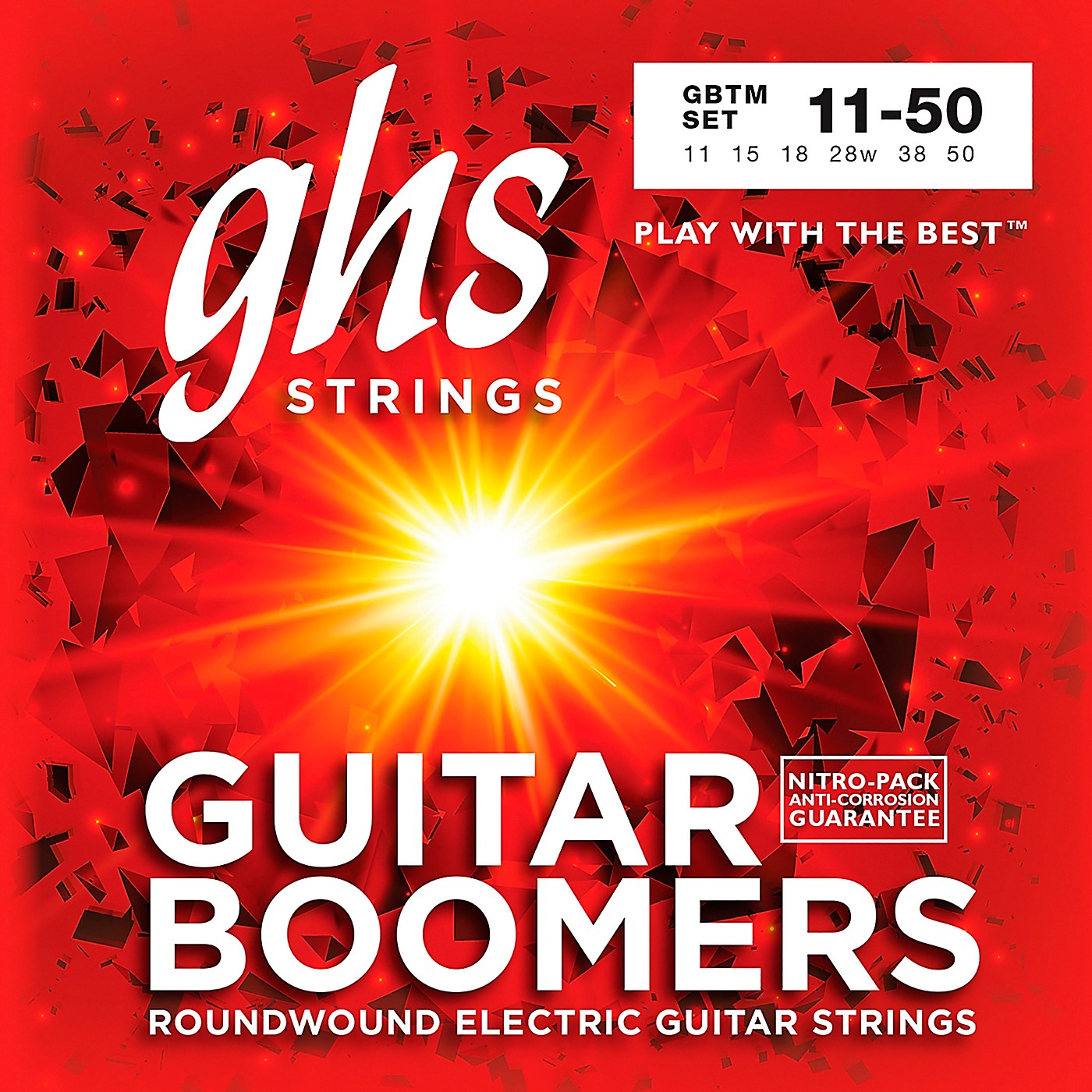GHS Boomer Electric Guitar Strings Medium (11-50) with (28-D) and (38-A) thumbnail