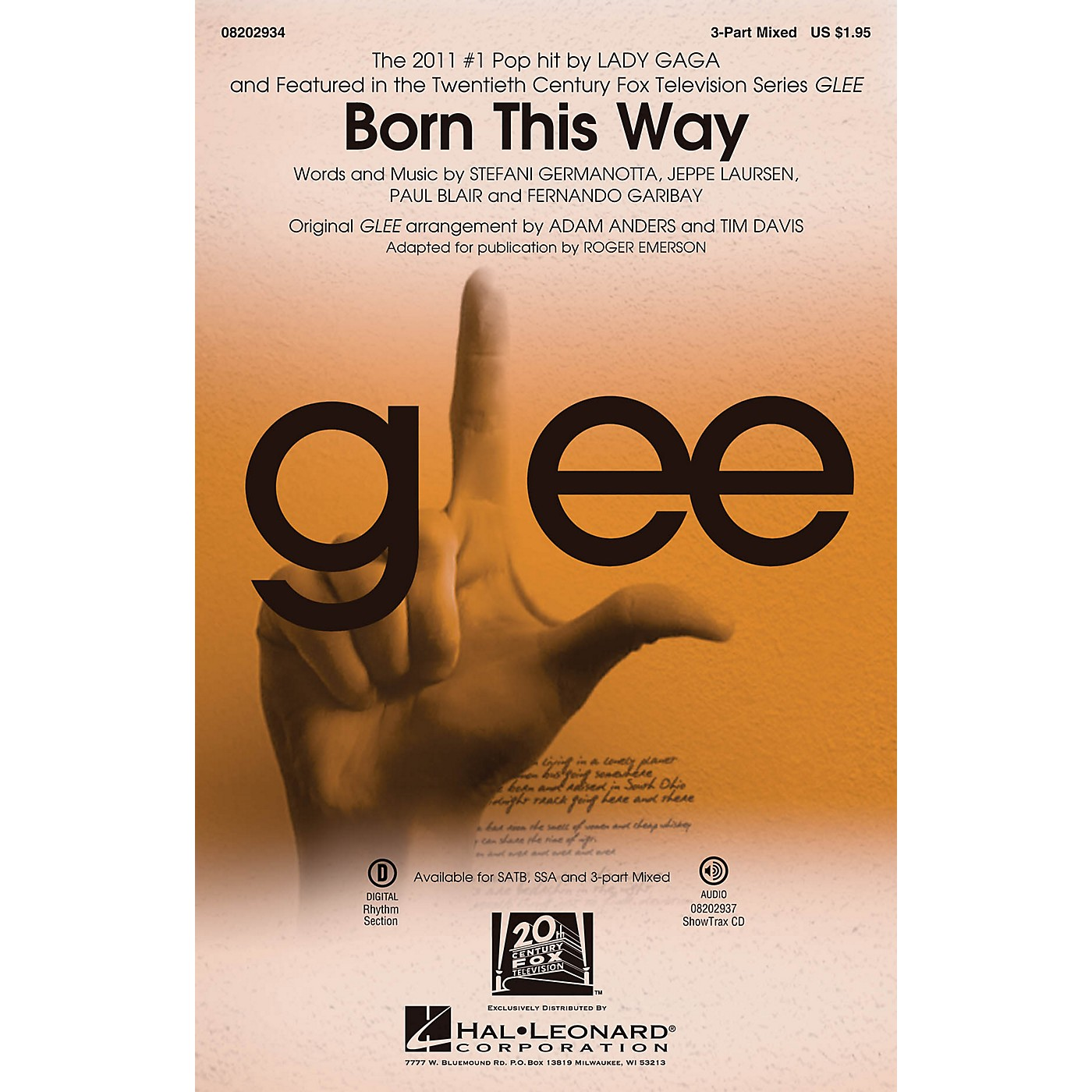 Hal Leonard Born This Way 3-Part Mixed by Lady Gaga arranged by Roger Emerson thumbnail