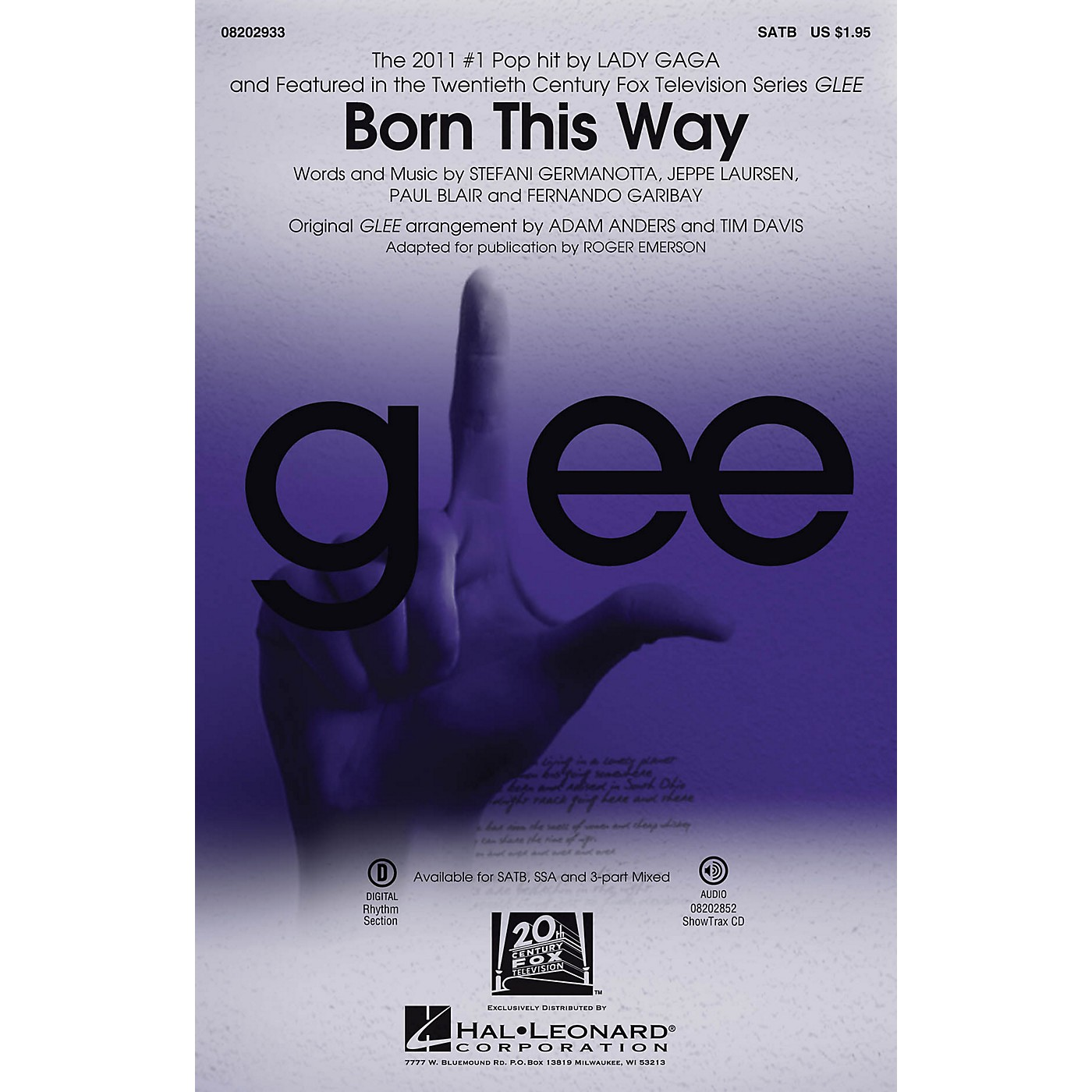 Hal Leonard Born This Way SATB by Lady Gaga arranged by Roger Emerson thumbnail
