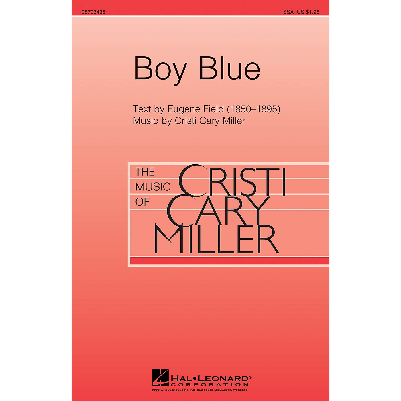 Hal Leonard Boy Blue SSA composed by Cristi Cary Miller thumbnail