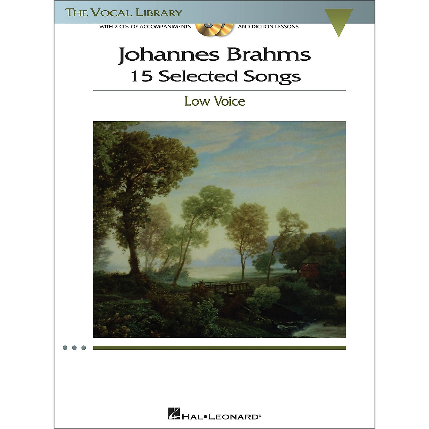 Hal Leonard Brahms - 15 Selected Songs for Low Voice (The Vocal Library Series) Book / 2 CD's thumbnail