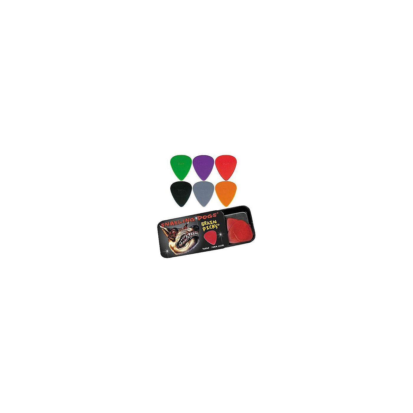 Snarling Dogs Brain Guitar Picks and Tin Box thumbnail