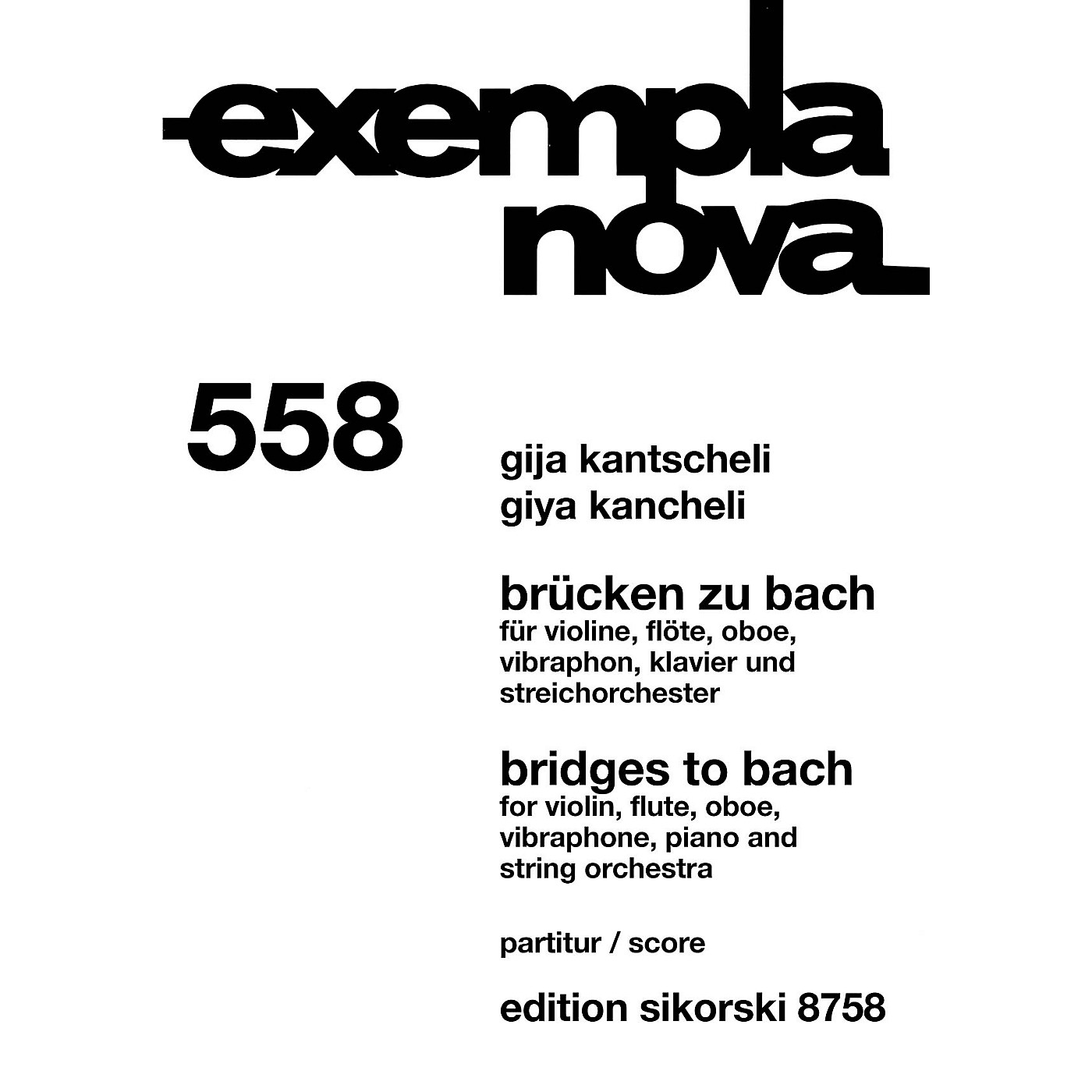 Sikorski Bridges to Bach Study Score Series Softcover Composed by Giya Kancheli thumbnail