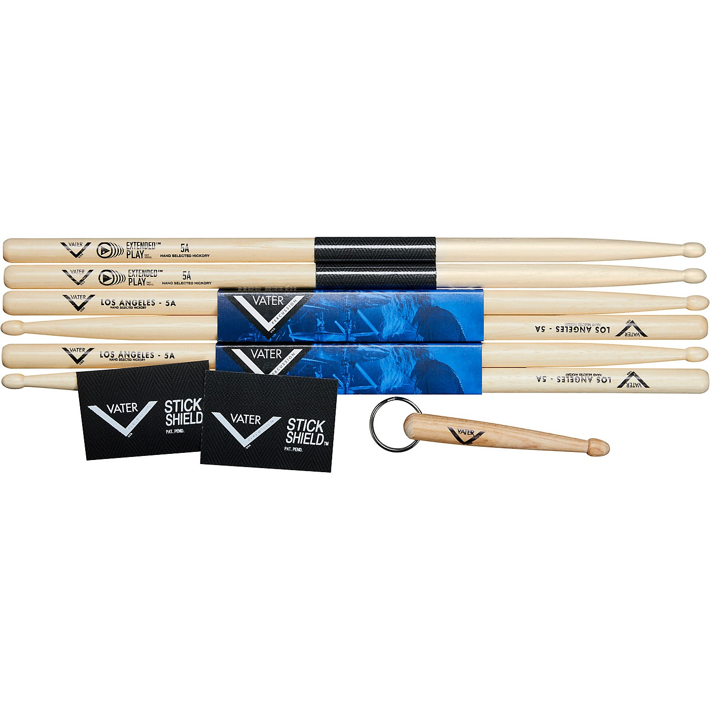 Vater Buy 2 pair 5A Wood and 1 Pair Extended Play 5A wood, get 1 pair Stick Shield and 1 Vater Key Chain thumbnail