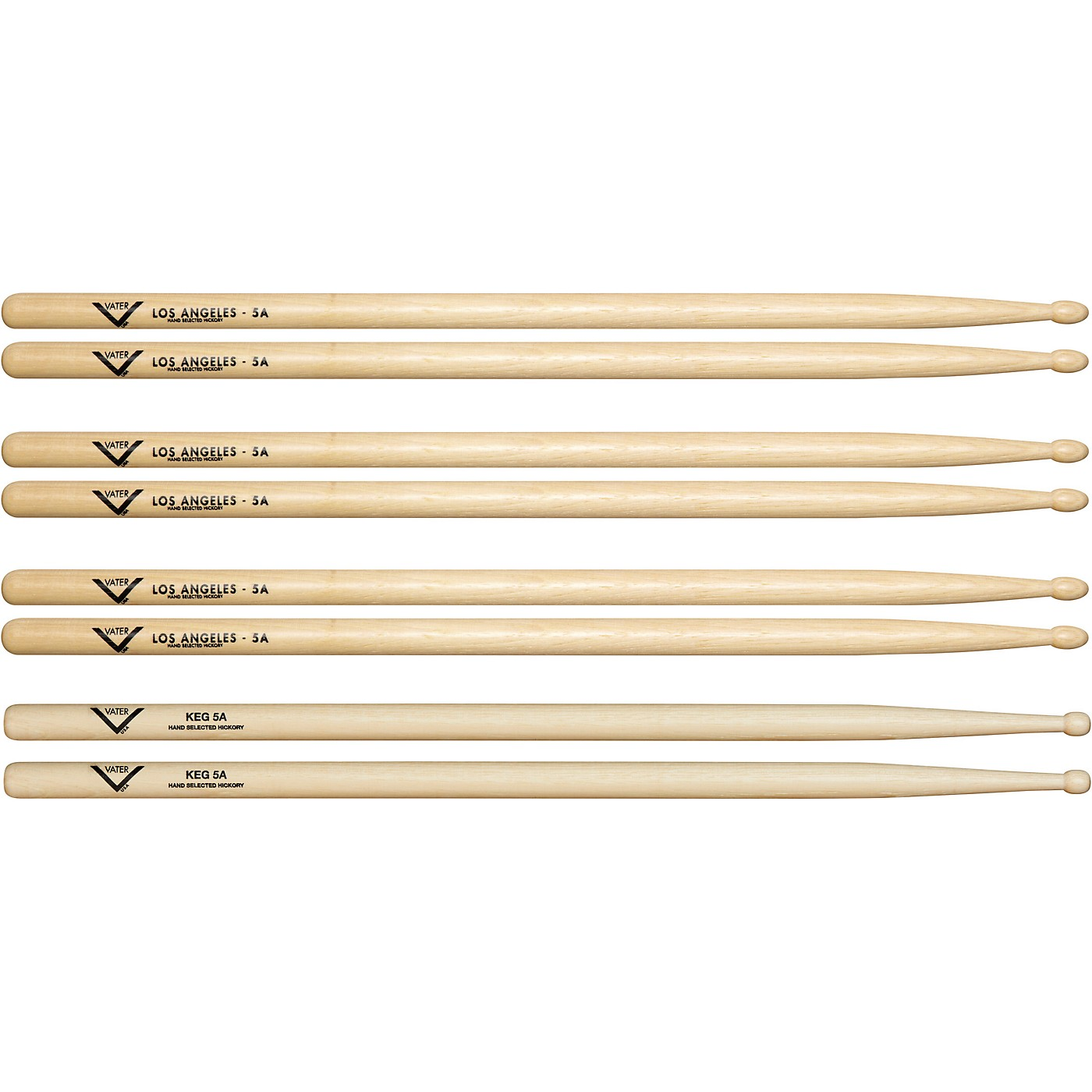 Vater Buy 3 5A Wood Drum Sticks Pairs, Get 1 Free KEG 5A Pair thumbnail