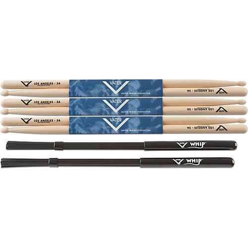 Vater Buy 3 Pair 5A Wood Tip Sticks get Free Whip thumbnail