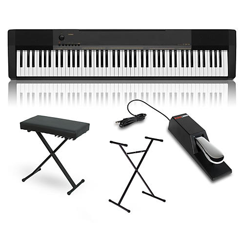 casio cdp 130 digital piano with stand sustain pedal and deluxe keyboard bench woodwind. Black Bedroom Furniture Sets. Home Design Ideas
