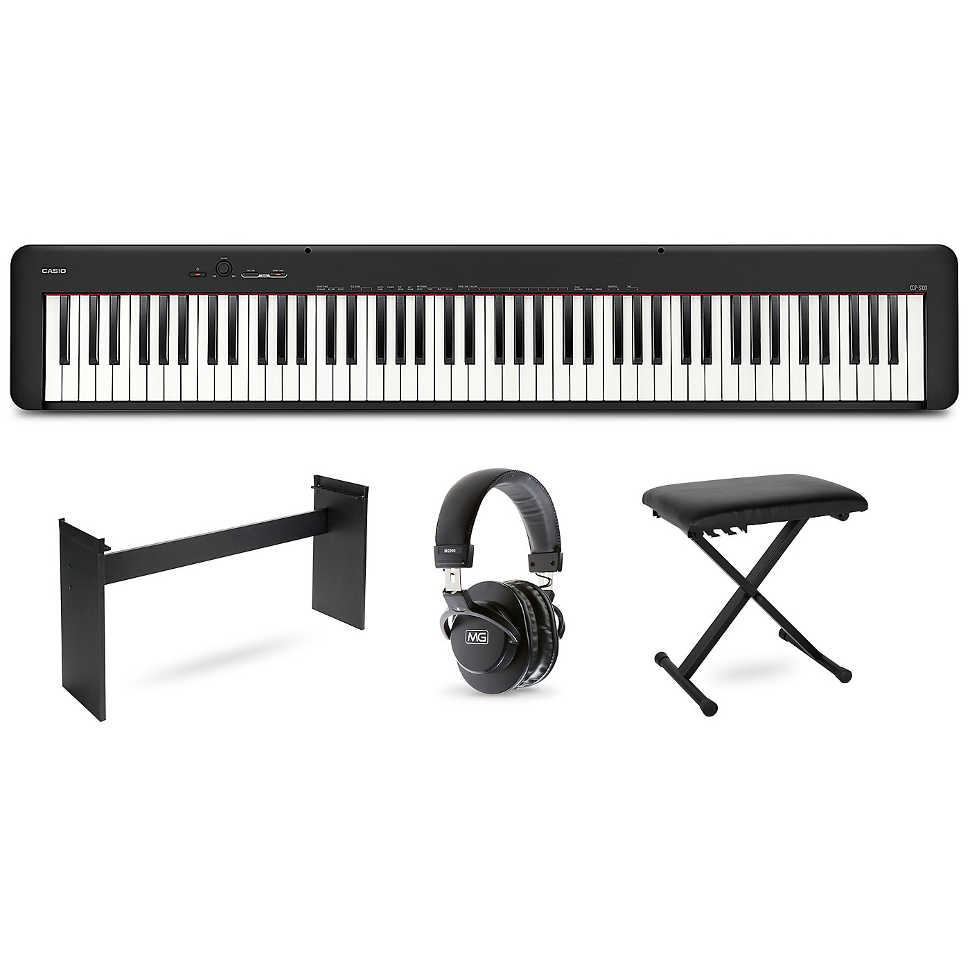 Casio CDP-S100 keyboard with CS46 stand, bench and headphones thumbnail